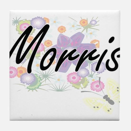 Morris surname artistic design with F Tile Coaster