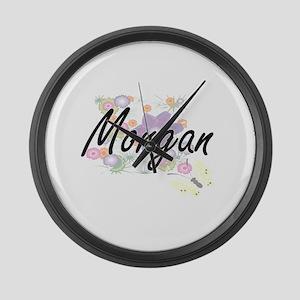 Morgan surname artistic design wi Large Wall Clock