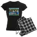 Boston Terrier Sailboats Women's Dark Pajamas