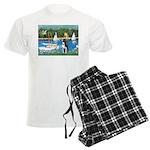Boston Terrier Sailboats Men's Light Pajamas