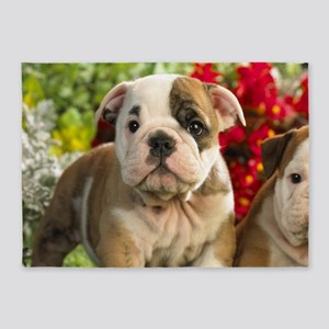 Cute English Bulldog Puppy 5'x7'Area Rug