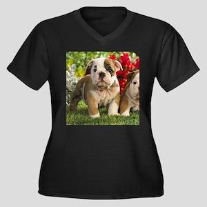 Cute English Bulldog Puppy Plus Size T-Shirt
