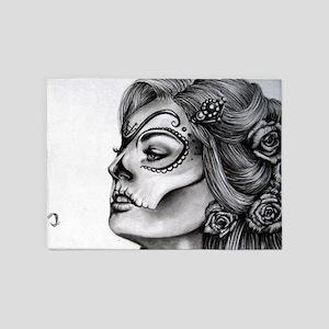 Dia De Los Muertos Drawing 5'x7'Area Rug
