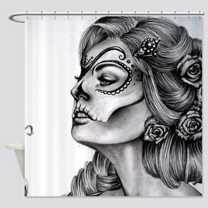 Dia De Los Muertos Drawing Shower Curtain