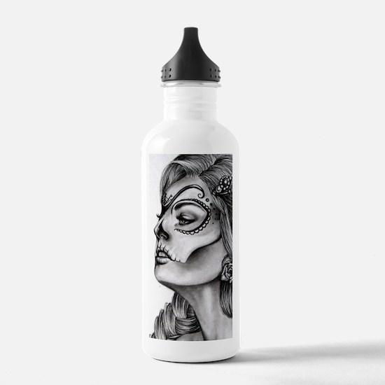 Dia De Los Muertos Drawing Sports Water Bottle