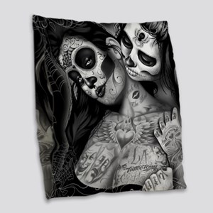 Dia De Los Muertos Burlap Throw Pillow