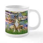 TILE-Lilies2-Boxer2-Nat 20 oz Ceramic Mega Mug