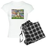 TILE-Lilies2-Boxer2-Nat Women's Light Pajamas