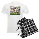 TILE-Lilies2-Boxer2-Nat Men's Light Pajamas
