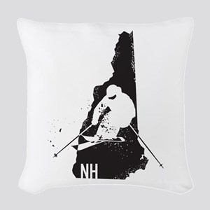 Ski New Hampshire Woven Throw Pillow