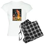 MP-MidEve-Corgi-Bi-Black Women's Light Pajamas