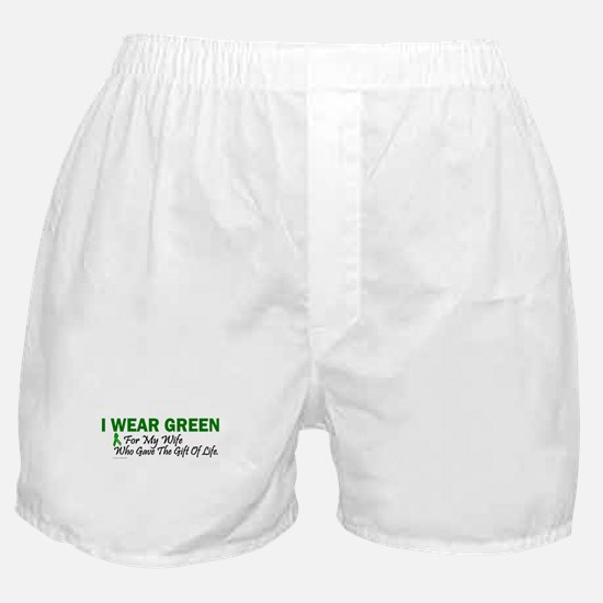 Green For Wife Organ Donor Donation Boxer Shorts