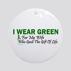 Green For Wife Organ Donor Donation Ornament (Roun