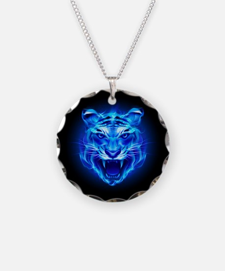 Blue Fire Tiger Face Necklace