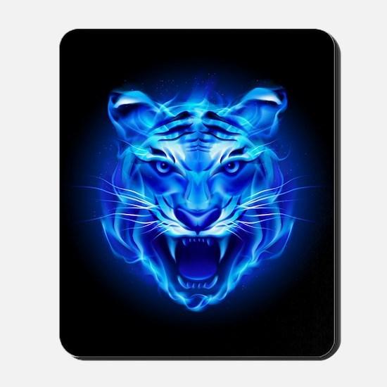 Blue Fire Tiger Face Mousepad