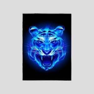 Blue Fire Tiger Face 5'x7'Area Rug
