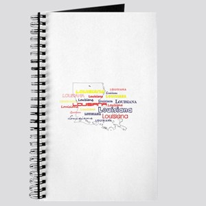 LOUISIANA MAP OUTLINE RED YELLOW BLUE FONT Journal