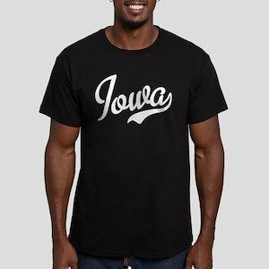 Iowa Script Font Men's Fitted T-Shirt (dark)