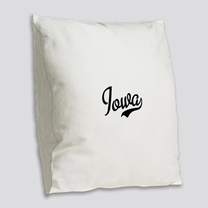 Iowa Script Font Burlap Throw Pillow