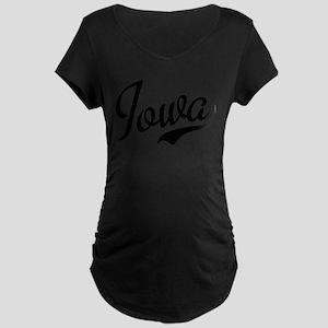 Iowa Script Font Maternity Dark T-Shirt