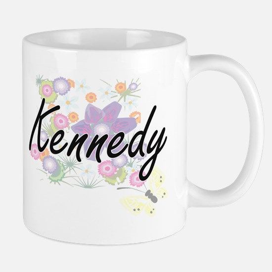 Kennedy surname artistic design with Flowers Mugs
