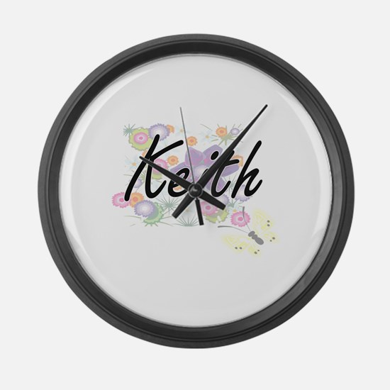 Keith surname artistic design wit Large Wall Clock