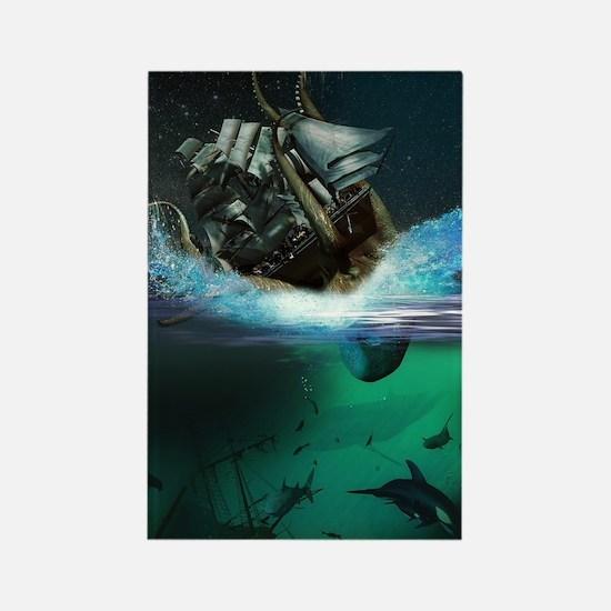 Kraken Attack Rectangle Magnet