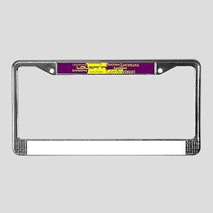 Louisiana Yellow State Purple License Plate Frame