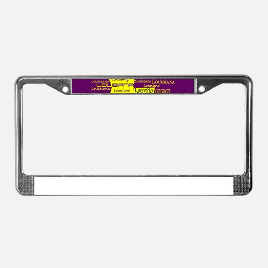 Louisiana Yellow State Purple License Plate Frame