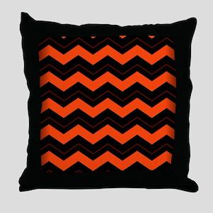 Orange and Black Chevron Throw Pillow