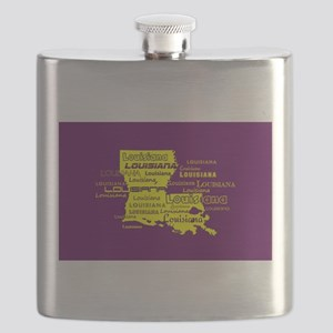 Louisiana Yellow State Purple Font and Backg Flask