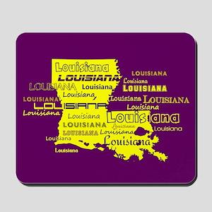 Louisiana Yellow State Purple Font and B Mousepad