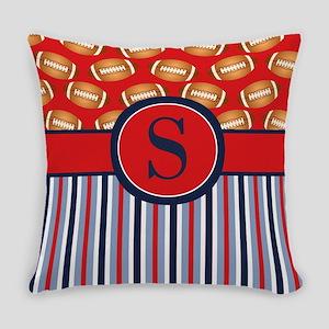 Red Navy Football Stripe Monogram Everyday Pillow