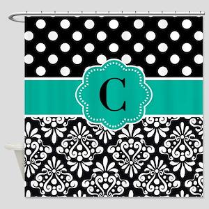 Black Teal Dots Damask Monogram Shower Curtain
