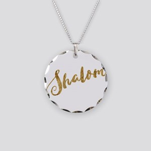 Golden Look Shalom Necklace Circle Charm