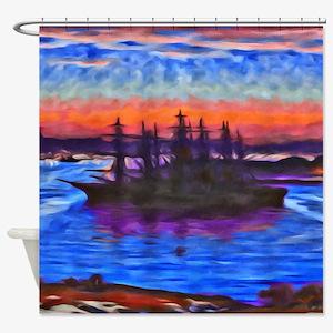 Sunset Ship Shower Curtain