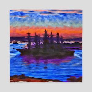Sunset Ship Queen Duvet