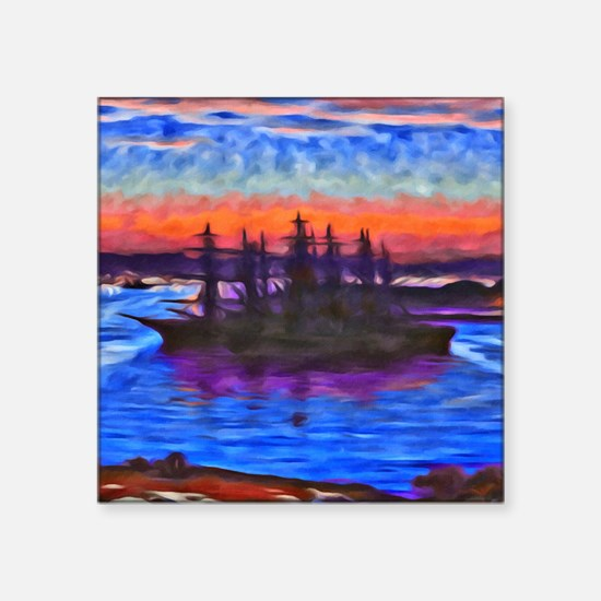 "Sunset Ship Square Sticker 3"" x 3"""