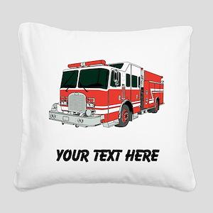 Firetruck (Custom) Square Canvas Pillow