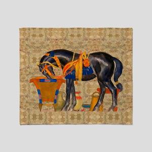Egyptian Horse Throw Blanket