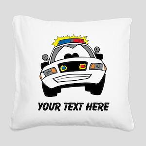 Cartoon Police Car (Custom) Square Canvas Pillow