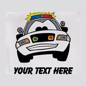 Cartoon Police Car (Custom) Throw Blanket