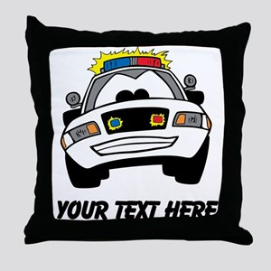 Cartoon Police Car (Custom) Throw Pillow