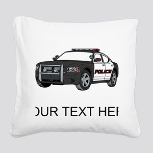 Police Car (Custom) Square Canvas Pillow