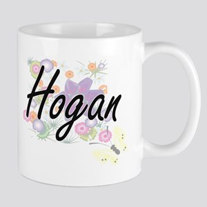 Hogan surname artistic design with Flowers Mugs