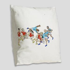Game time. Burlap Throw Pillow