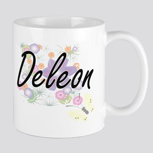 Deleon surname artistic design with Flowers Mugs