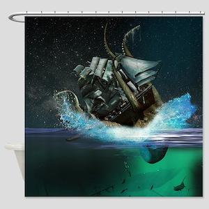 Kraken Attack Shower Curtain