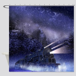 Snowy Night Train Shower Curtain