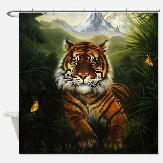 Jungle Tiger Landscape Shower Curtain